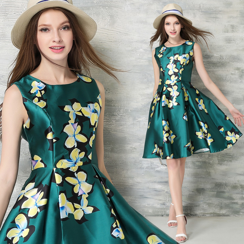 B10819A high fashion printed womens dresses,dress designers fashion dress womens clothing ,summer dress women ODM manufacturer