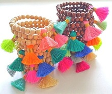 New Stretch Bracelet Natural Wood Big Tassel Elastic Bracelet High End Beaded Mala Bracelet