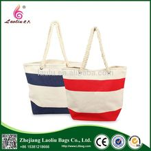 Fashion New Style Wholesale Rope Handle Stripe Canvas Beach Bag