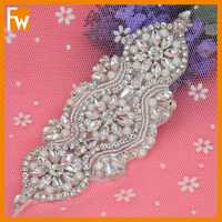 wholesale rhinestone crystal bridal pearl applique patches for wedding garter