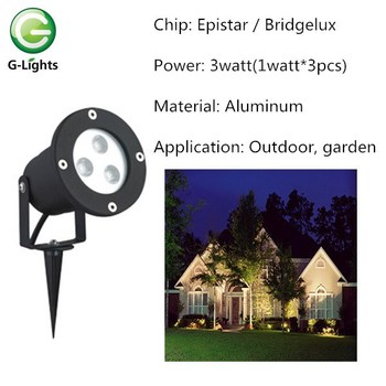 3W( 3PCS 1W) 220v outdoor LED RGB garden spike light