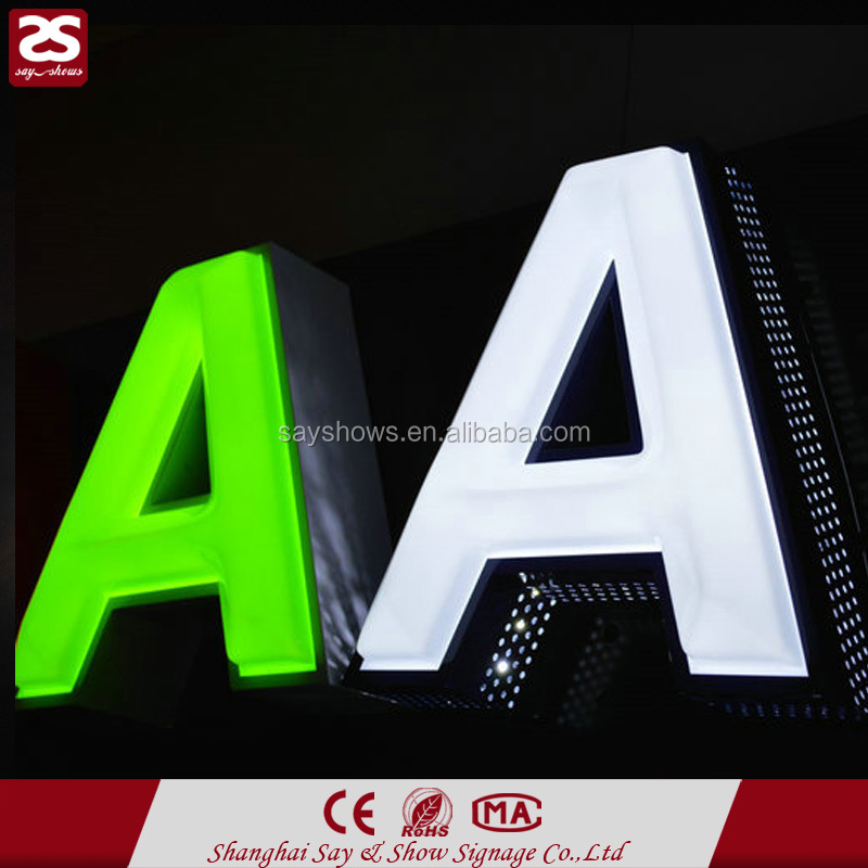 Outdoor waterproof punched hole LED luminous sign 3d channel letter