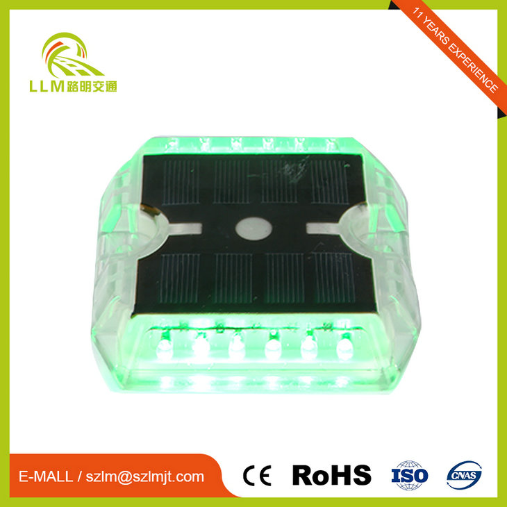 IP68 Cat Eye Plastic Solar Pavement Marker Single-Side Flashing 6*LED 115*105*20mm