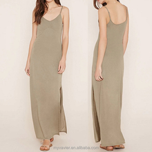 New cami knit maxi dress complete with adjustable cami straps and a high side slit for women sleeveless dress design