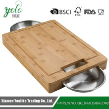 Carving Bamboo Cutting Board with 2 pcs Stainless Steel Bowls