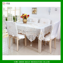 Elegant Embroidered Cutwork Floral Embroidery Polyester Tablecloths