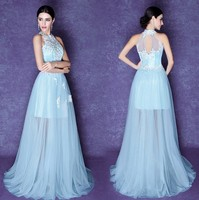 light blue lace mother of the bride halter dress