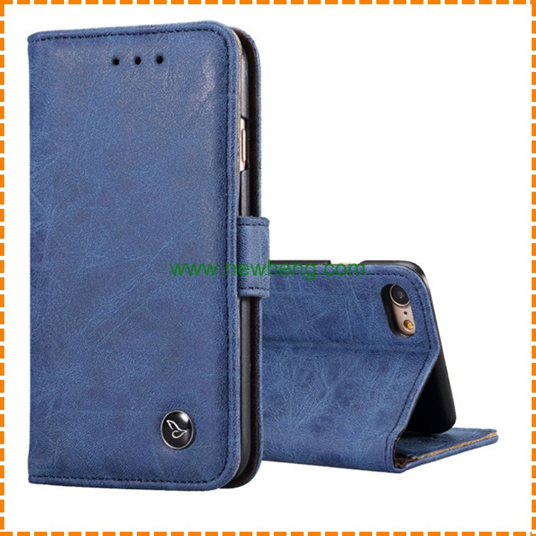 Hot Sale Retro Scrub Magnetic Flip Leather Case for Iphone 6/6s plus with Credit Card