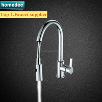 Contemporary Singe Handle Put Down Sprayer Kitchen Faucets With Spout Chorme