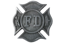 "Lead & Nickel Free!! Pewter Belt Buckle Displays An ""FD"" Fire Department Shield Metal Fridge Magnet"