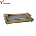 rustic chic small wooden country charm tray with zinc bottom