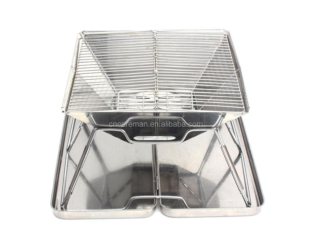 Medium-sized Portable Folding Stainless Steel Charcoal BBQ Grill Stove w/Stainless Case, Quick Grill Medium OEM Orders Accepted