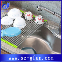 anti rust vegetable and plates silicone stainless steel roll-up drying rack