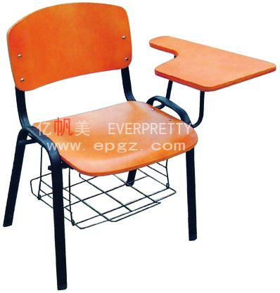 Student Chair With Writing Board And Book Basket School Furniture