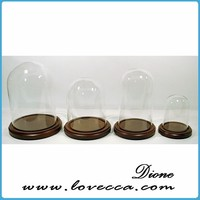 Wholesale decorative glass dome with base made in china,high quality glass dome with wooden base