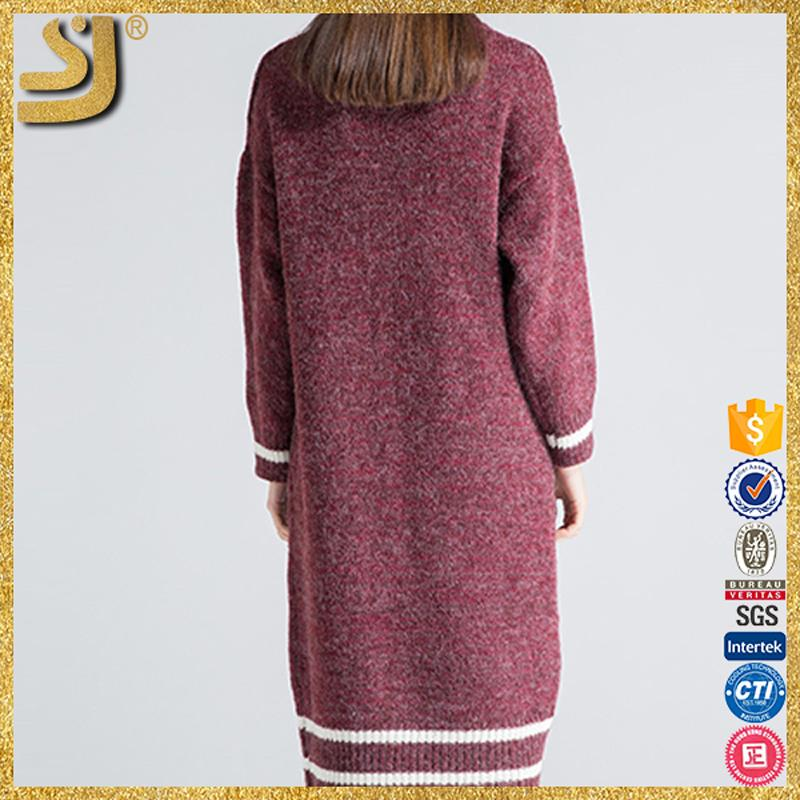 Shangyi women's pullover long sweater, ladies official sweater dresses, round neck women sweater dress
