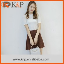 Hot Design Fashion Girl Young Brown Knitted Cashmere Ladies Short Skirt