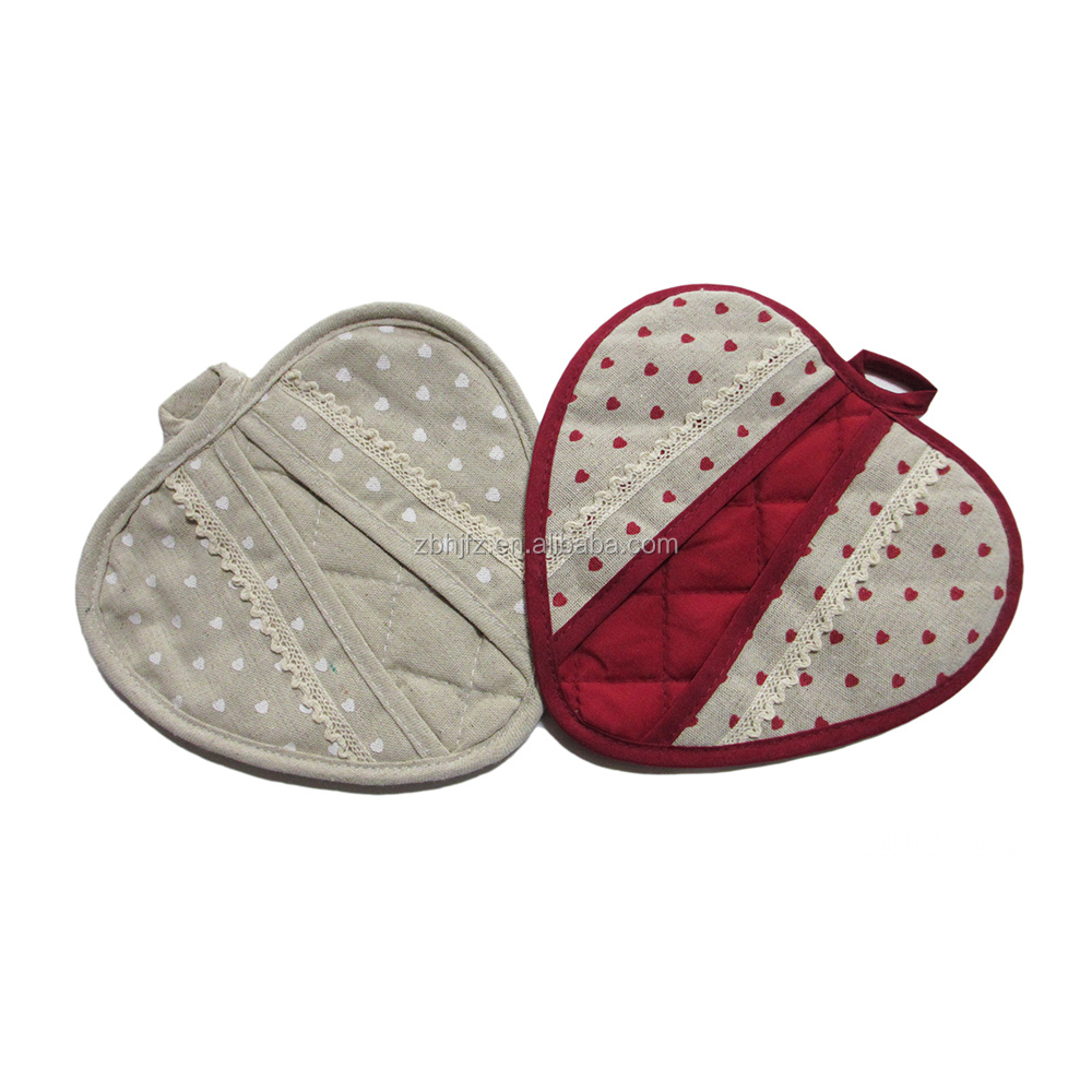 heart shape pot holder linen fabric printed pot holders for kitchen tables