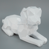 Resin pop up glossy white polyhedral dog sculpture