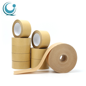 Custom logo printed self adhesive fiber reinforced crepe kraft gum paper packing tape