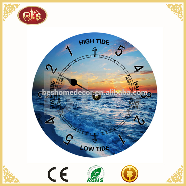 Wholesale tide wall clock with seaside scenery,high quality art painting wall clock