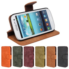 Alibaba Magnetic Flip Cover With Card Holder, scrub leather Wallet Case for Galaxy S3 I9300