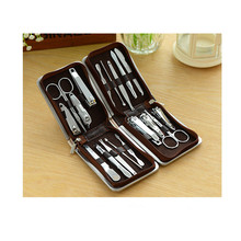 9pcs Face and Manicure/pedicure Set Brief Case Clippers Tweezers Nail Care, Leather Travel tools set box