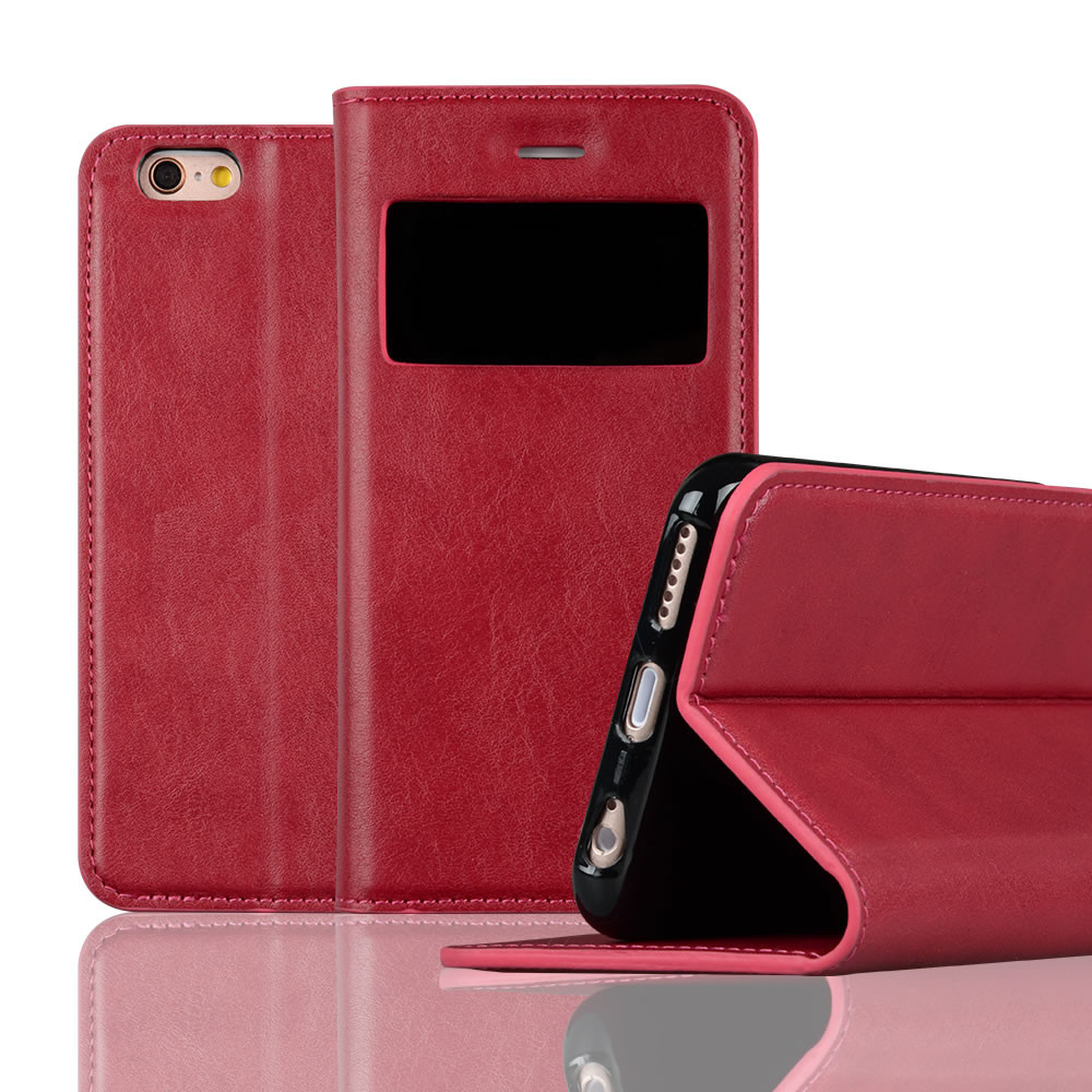 C&T Window View Flip Cover for iPhone 6/6S Case Leather Wallet Stand Case Cover with Card Slot