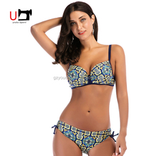 Hot Sex Brazilian Bikini Photos Two Piece Set Floral Printed High Quality Swimsuits Woman