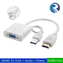 Supports Audio VGA to HDMI with USB and 3.5mm Aux cable Scaler/Converter 1080P in Black and white