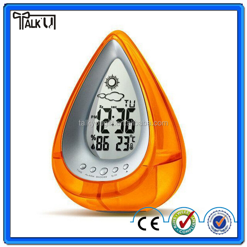 Energy saving triangle shape water power digital table alarm clock, plastic weather station function table alarm clock