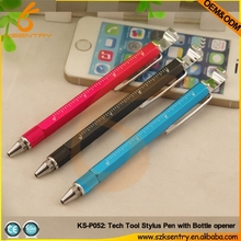7 in 1 stylus ballpoint pen with ruler, screwdriver, bottle opener and smart phone holder