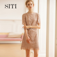 Siti 2017 new pink lace dress with lady casual dress