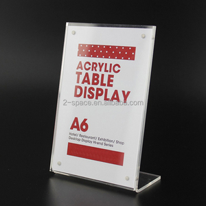 L shape magnetic advertising display stand Acrylic table Desk menu price Label Holder frame