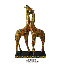 Lovely Colorful Printing Gift Craft Animal Figurine Giraffe Statues For Sale