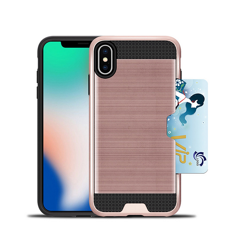 2018 newest back cover brush phone case for iPhone X plus,Rugged 2 in 1 With Card Slot Holder Mobile Phone Case for iPhone X <strong>p</strong>