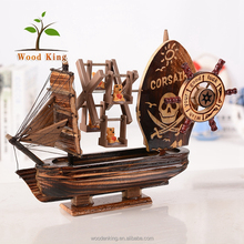 Birthday Present Wholesale Ncient Creative Pirate Mediterranean Music Box Windmill Craft Decoration Wooden Model Boat