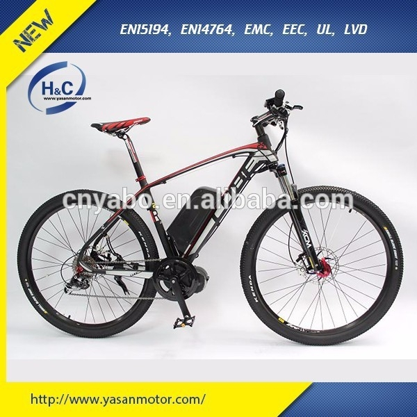 "2015 Hot sales 250W 8FUN brushless motor No Folding Mid Drive 26"" electric mountain bike electric"