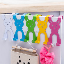 Cartoon Rabbit Hook Bedroom Kitchen Door Hook Clothes Bag Coat Dual Hanger Organizer Hanging Sundries hook