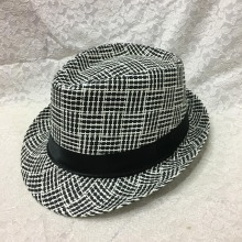 Custom made wholesale straw woven man sun visor plaid fedora hats