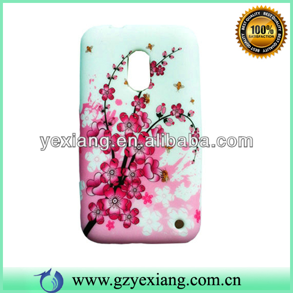 Pink Plum Blossom Decoration Cover Cell Phone TPU Case For Nokia Lumia 620