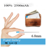 promotion super slim credit card power bank 2500-4000mah, mini gift power bank build in cable