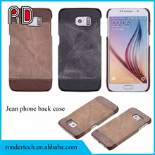 Black & Brown Color Slim Jeans leather Phone Shell for Iphone Samsung Sony Huawei