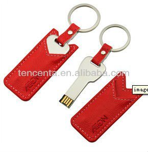hot sell stainless steel key usb flash drives stick with leather case