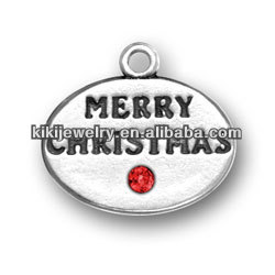 custom silver plated engraved jewelry merry christmas letters dot tags with red crystal pendant charms (184116)