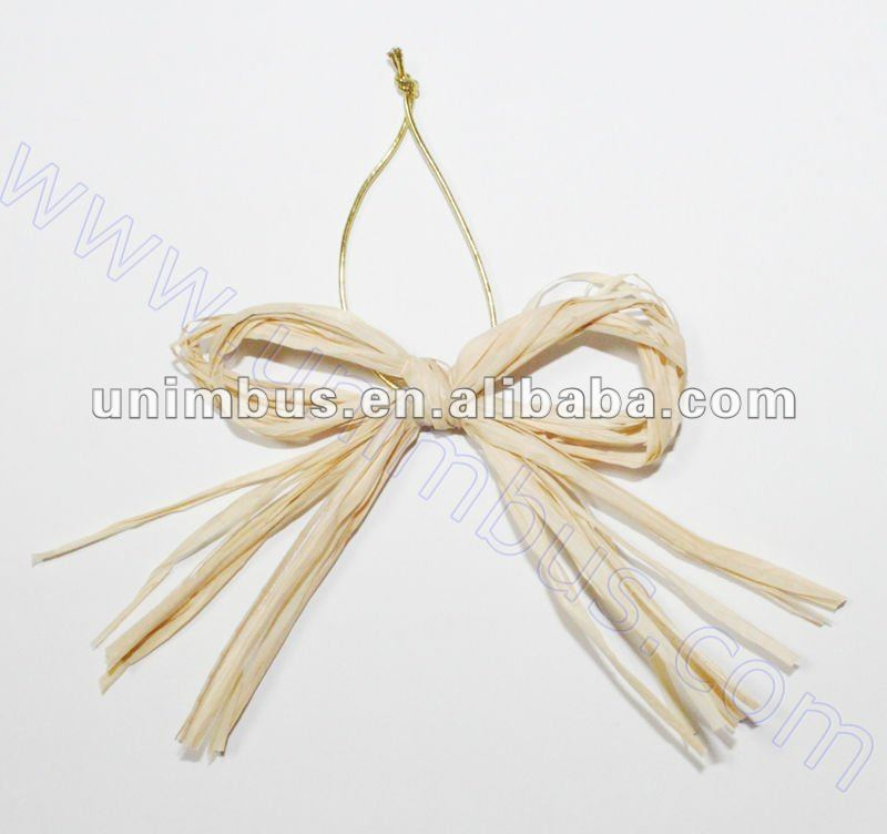 pre-tied nature raffia bow with gold elastic cord
