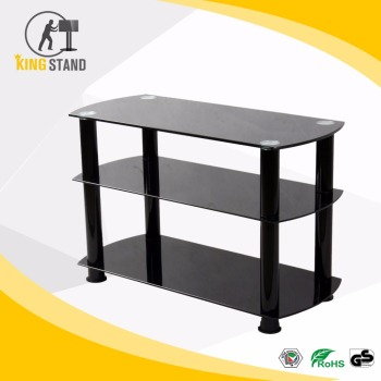 Cheap Tempered glass TV stand, AV system stand loading capacity 150KGS