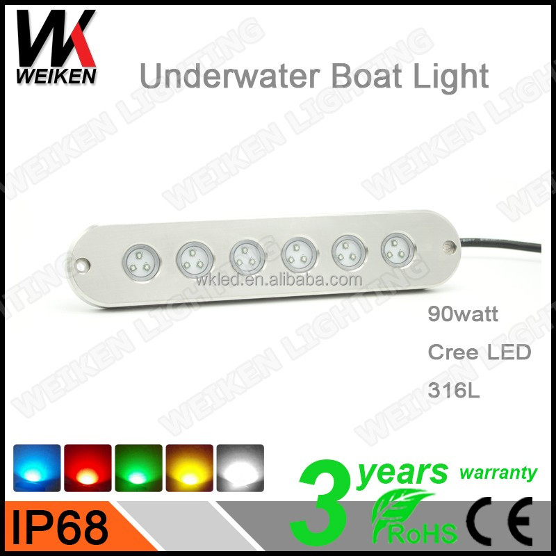 316l Stainless Steel RGB 90W Underwater 12V Led Dock Lights 90w Boat LED Light Wireness