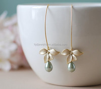 Gold Orchid Sage Green Pearls Earrings Wedding Long Dangle Earrings