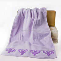 jacquard velour cotton purple bath towel wholesale